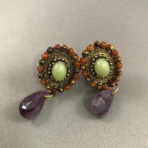 Vintage Clip On Earrings Multi Stones